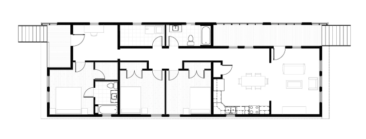 Modern New Orleans Shotgun House floor plan by GOATstudio