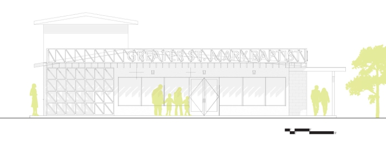 Elevation of the re-developed street front for a contemporary community center by GOATstudio