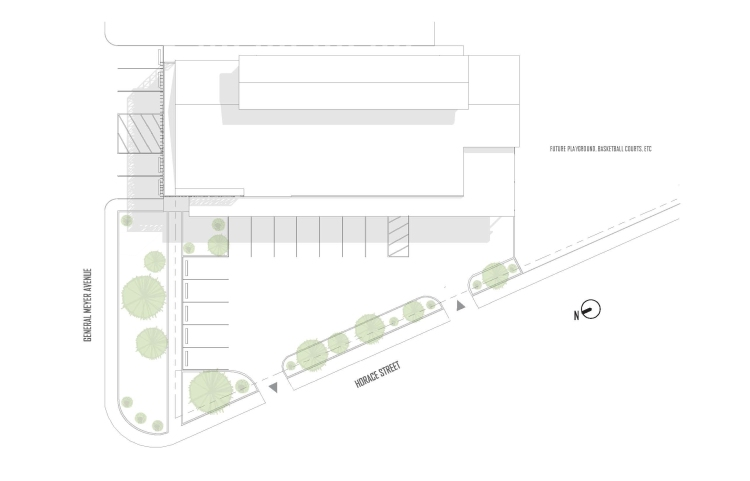 Site plan for a contemporary community center by GOATstudio