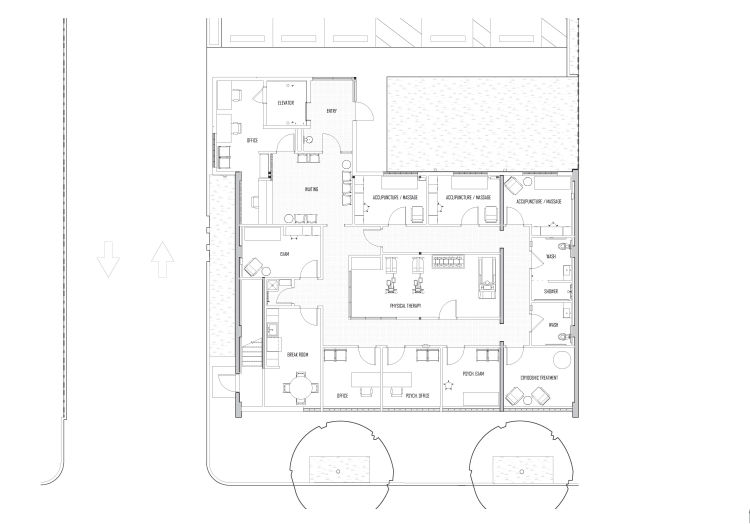 Conceptual floor plan for contemporary re-development of a historic office building in New Orleans by GOATstudio