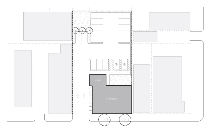 Conceptual site plan for contemporary re-development of a historic office building in New Orleans by GOATstudio